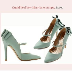Qupid Sage Blue Green Mary Jane Bow Pumps